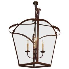 Italian Wrought Iron Arched Dome Hanging Glass Lantern , Circa 1870