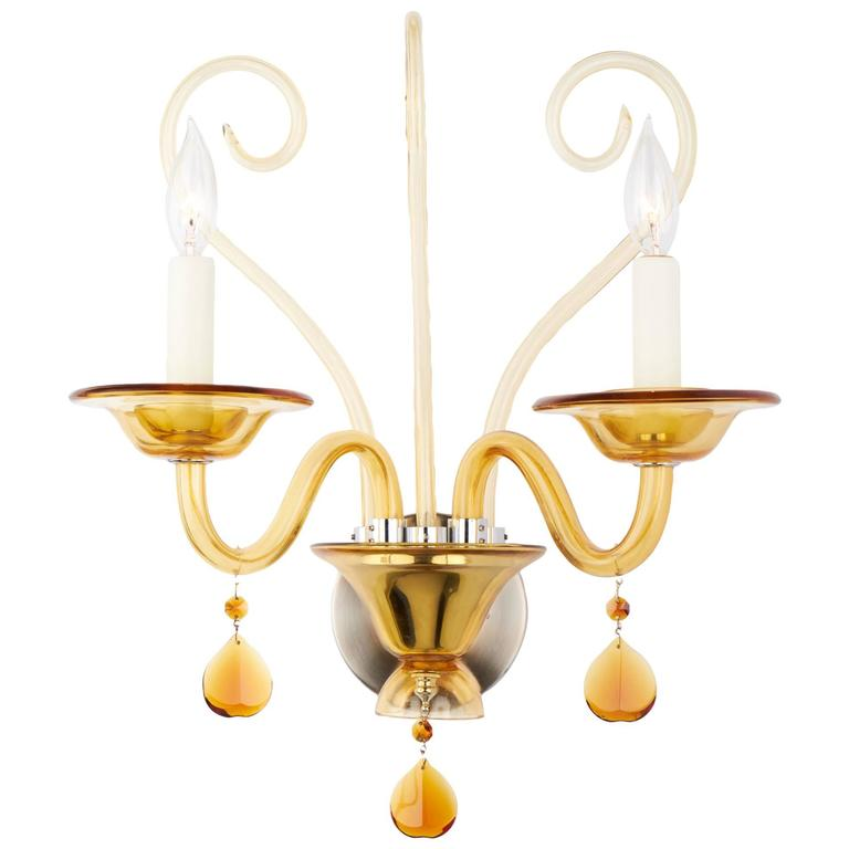 Amber Glass Wall Lights : Murano Amber Glass Wall Sconce For Sale at 1stdibs