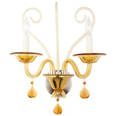 Murano Amber Glass Wall Sconce