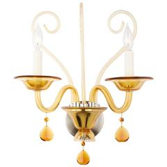 Pair Of Polyhedral Murano Glass Sconces For Sale At 1stdibs