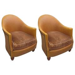 Pair of Leather-Upholstered Tub Chairs