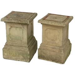 Pair of 19th Century English Terra Cotta Garden Pedestal Plinths