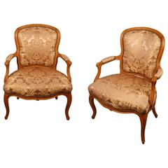 Pair 18th century French Antique Louis XV Fauteuils Armchairs