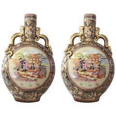 """Pair of Spectacular """"Satsuma"""" Vases, Glazed Ceramic, circa 1970, China"""