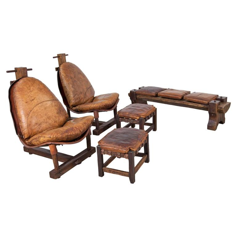 Extravagant Seating Group, Two Lounge Chairs with Ottomans and Bench, Rosewood For Sale