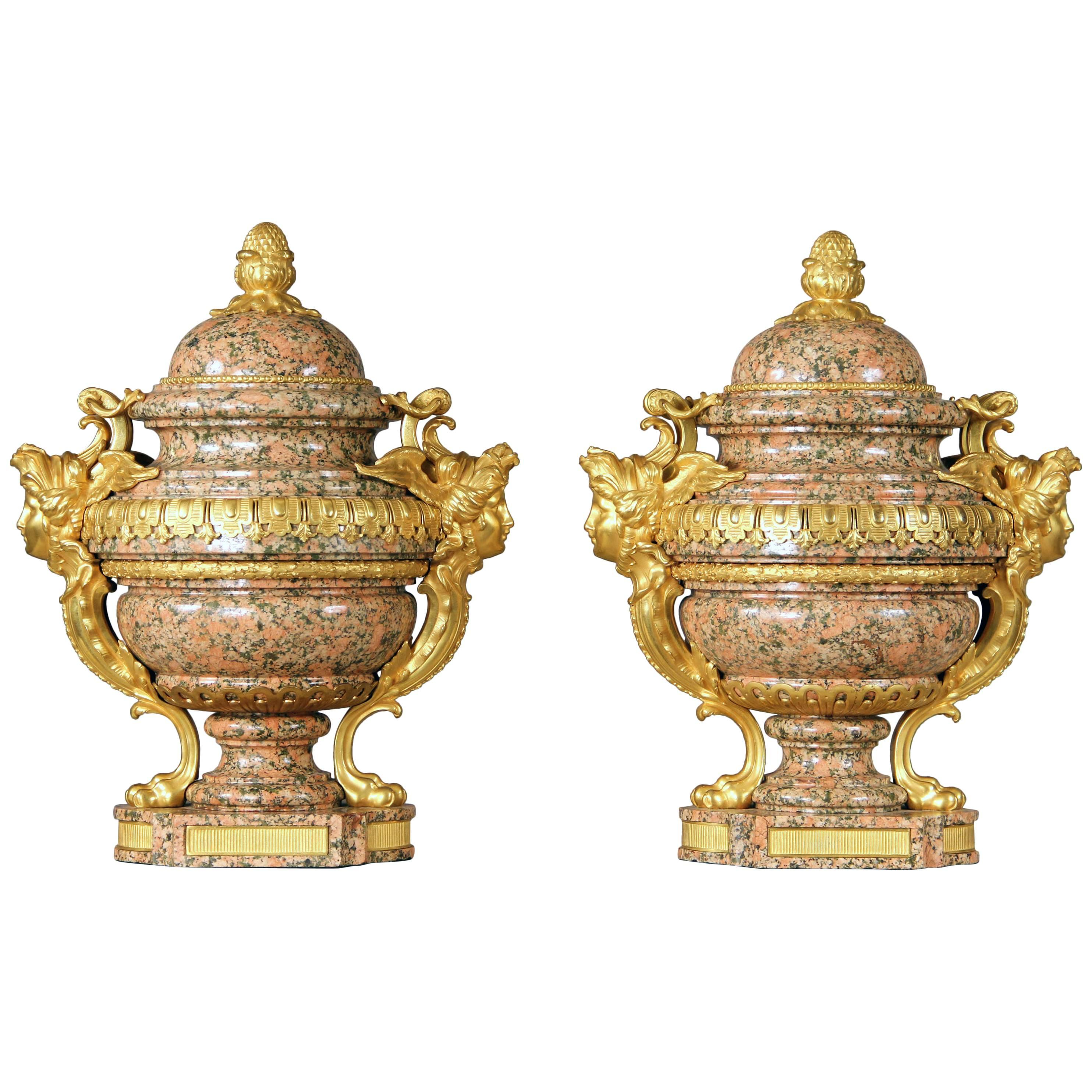 Pair of Late 19th-Early 20th Century French Bronze-Mounted Pink Granite Urns