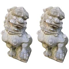China Pair Large Antique Hand-Carved Guardian Lions Dogs for Garden or Home