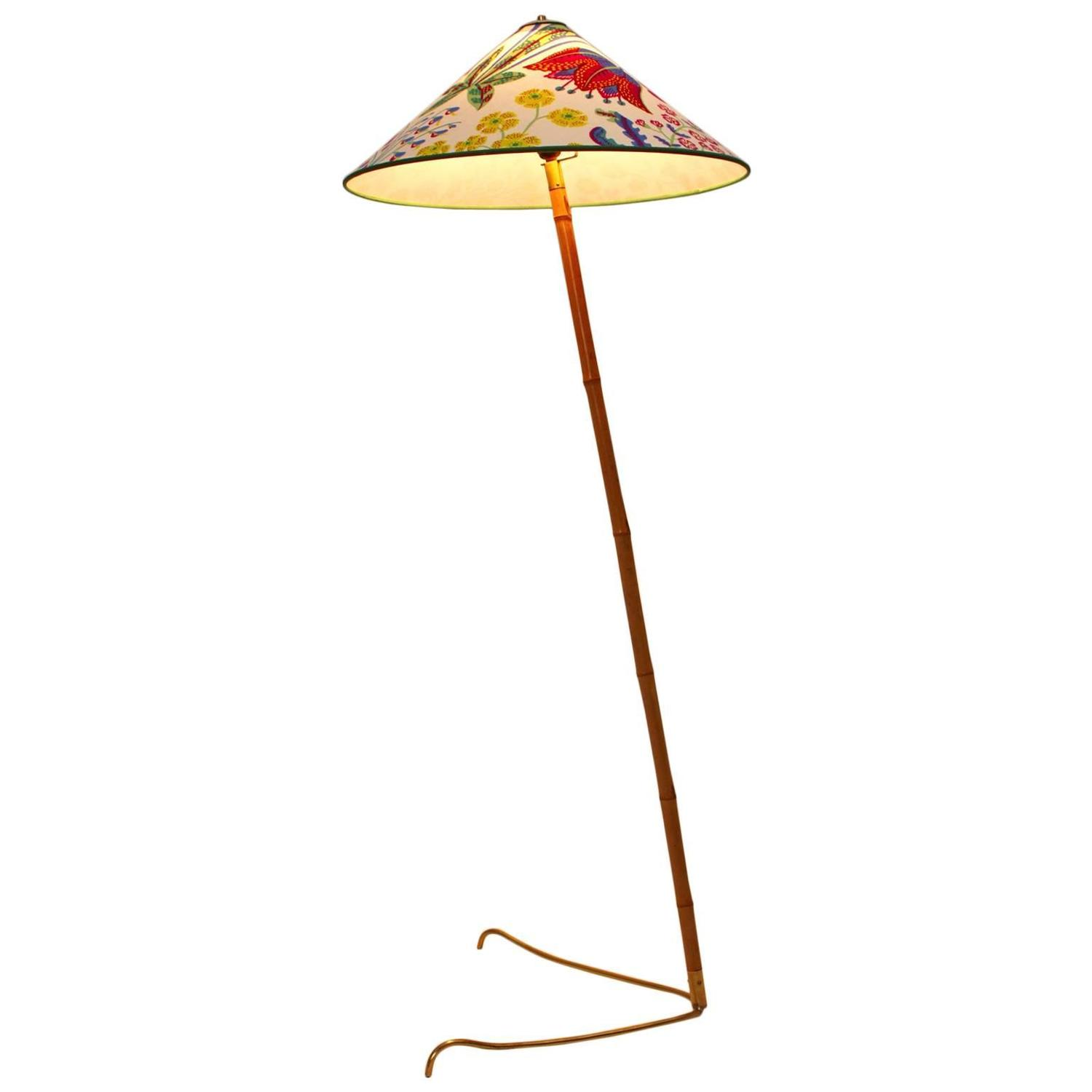 Austrian J T Kalmar Bamboo Floor Lamp with Josef Frank Fabric