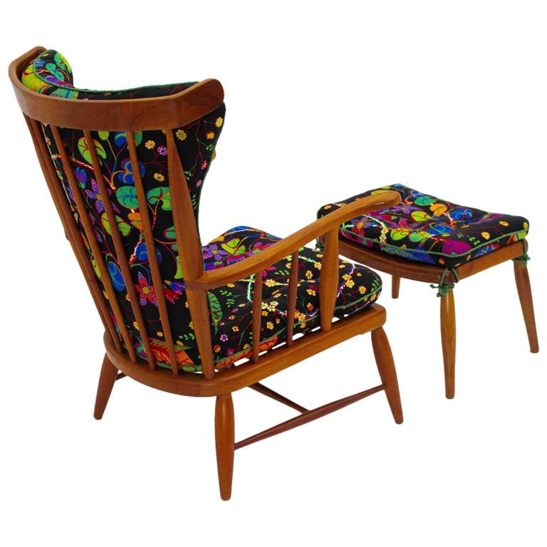 Armchair by Anna Lülja Praun with original Josef Frank Fabric Austria c 1952