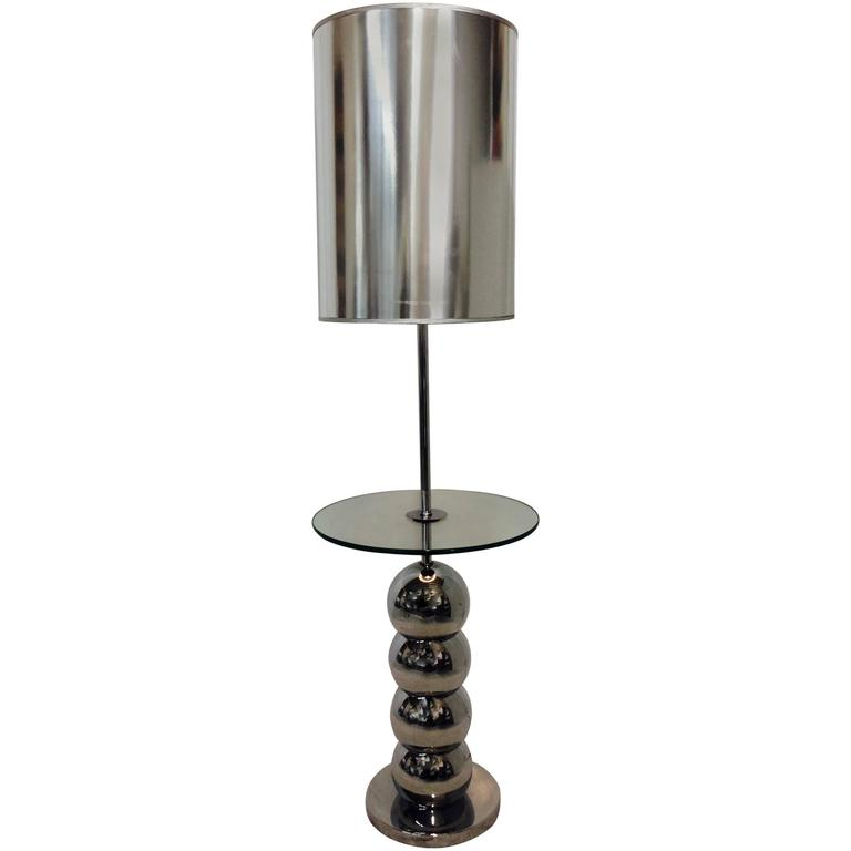 to 70 39 s chrome and glass laurel bubble table floor lamp custom shade. Black Bedroom Furniture Sets. Home Design Ideas