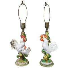 Pair of European Porcelain Rooster Table Lamps
