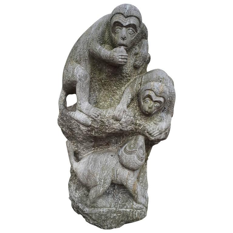 "Monumental Hand-Carved Stone Sculpture ""Monkey Mountain"" Playful Monkeys"