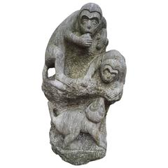 "China Monumental Hand carved Stone Sculpture playful monkeys ""Monkey Mountain"""