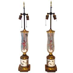 1950'S Pair Of Reverse Painted Eglomise Glass Ballerina & Butterfly Lamps