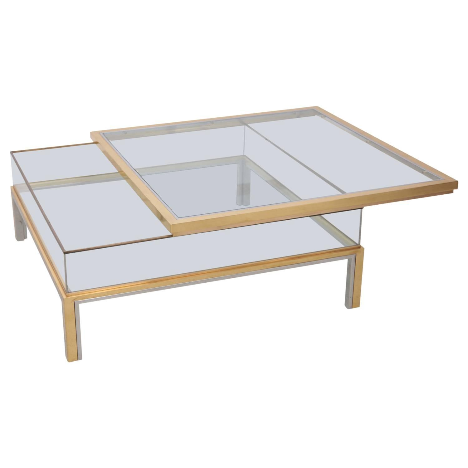 Maison Jansen Sliding Top Coffee Table in Brass and Chrome at 1stdibs