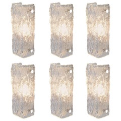 One of Six Ice Glass Sconces of Wall Lights by Kaiser Leuchten