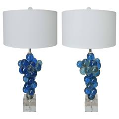 Pair of Vintage Blue Bubble Lamps