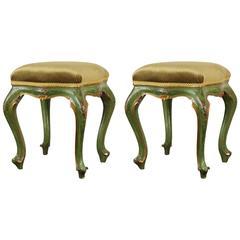 Pair of Painted, Emerald, Venetian Stools