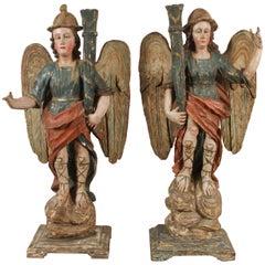 Rare, Large, 18th Century Angel Candlesticks