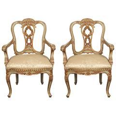 Pair of Gilded, Venetian Armchairs