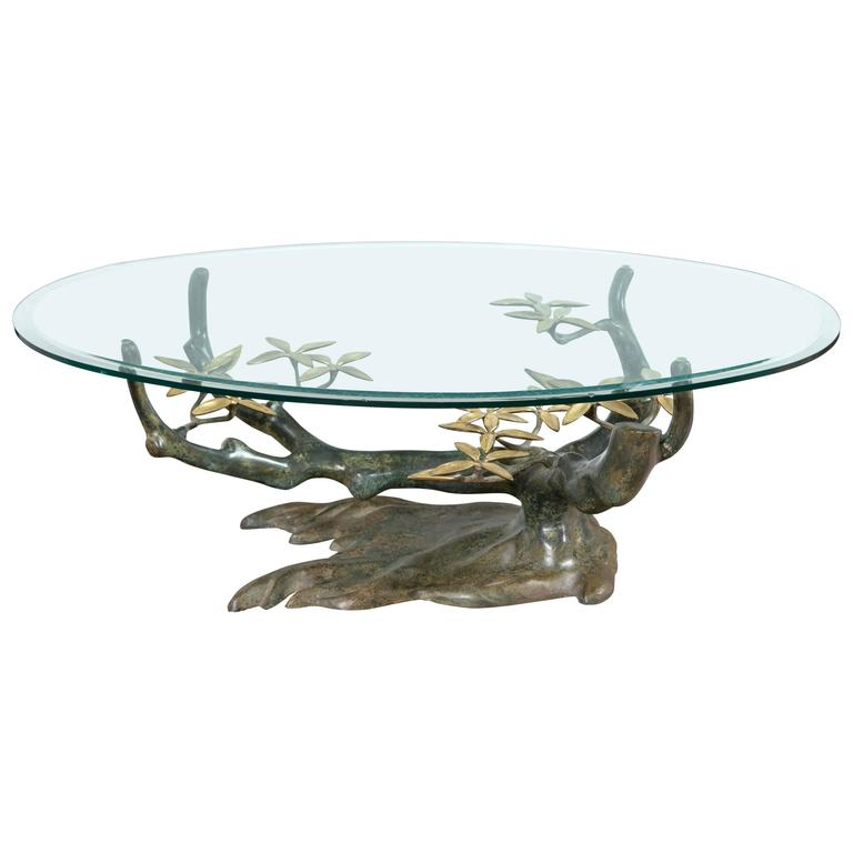 Unique Table Base: Unique Bronze Tree And Flower Base Coffee Table For Sale