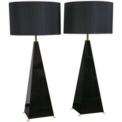 Jansen Black Lacquer Pyramid Lamps