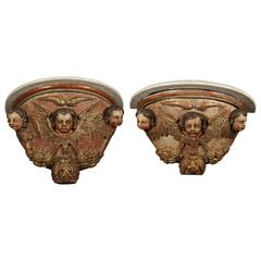 Pair of Carved Demilune Wall Consoles