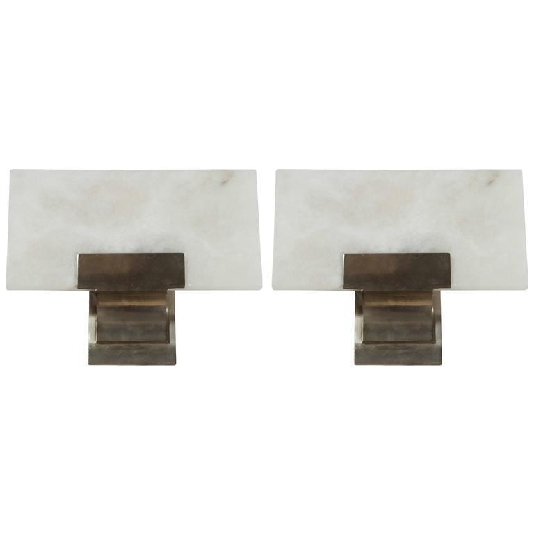 Wall Sconces Alabaster Glass : Alabaster and Silvered Bronze Sconces at 1stdibs