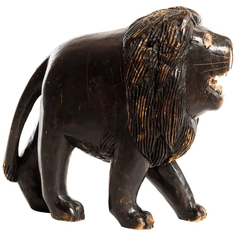 Wood Carved Lion For Sale