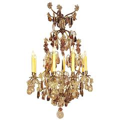19th-20th Century Louis XV Style 8 Light Silvered and Color-Crystal Chandelier