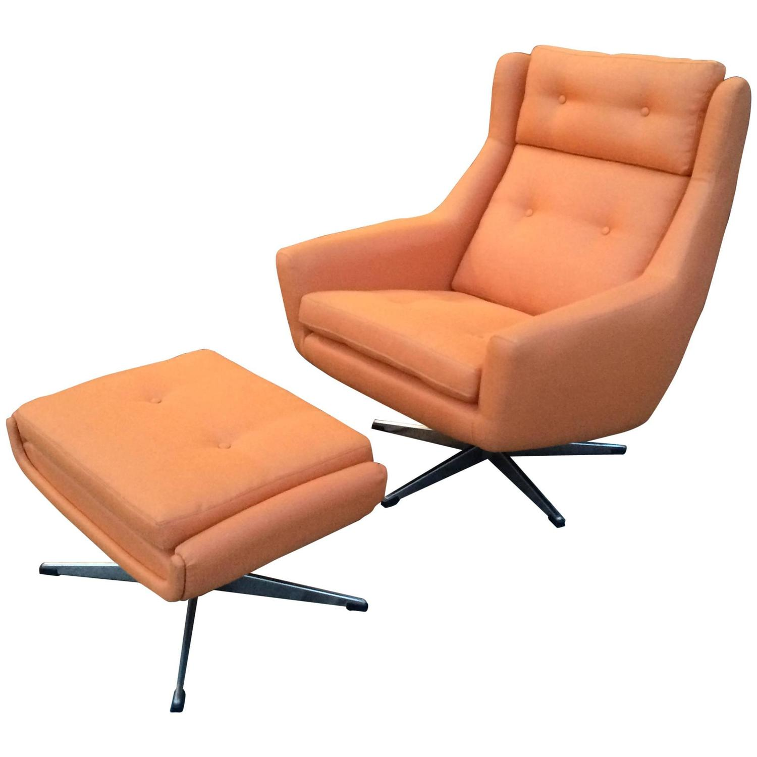 Mid Century Modern Lounge Chair and Ottoman Attributed To John