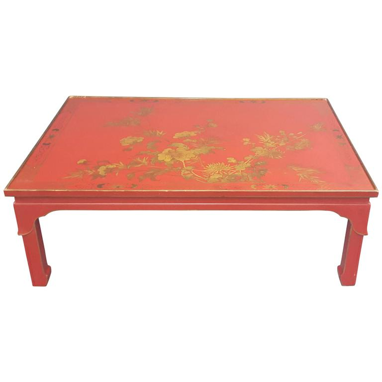 Red Lacquered Chinoiserie Coffee Table With Hand Painted