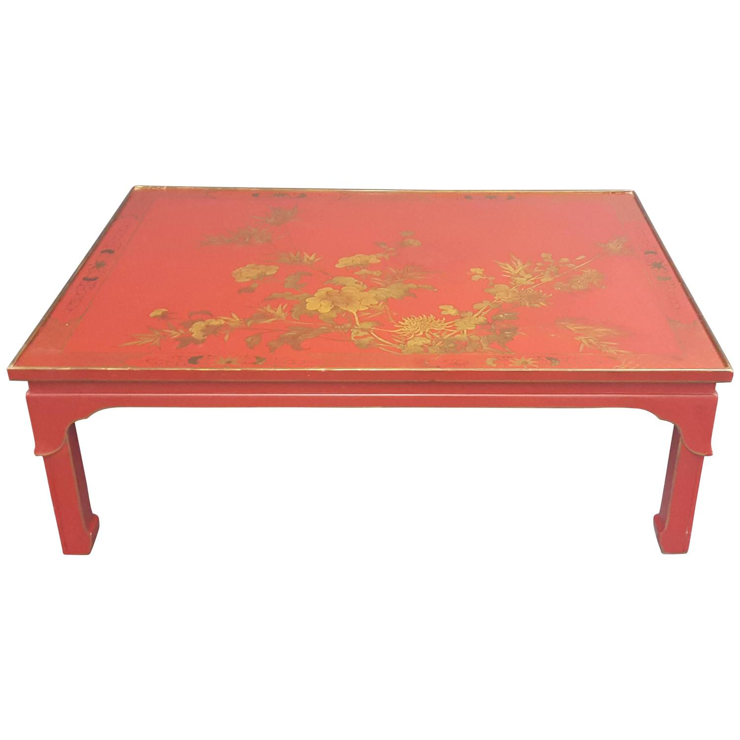 Red Lacquered Chinoiserie Coffee Table With Hand Painted Top At 1stdibs