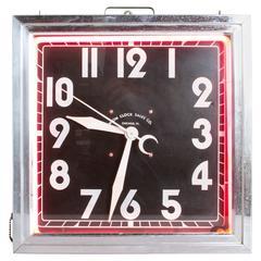 Graphic Art Deco Square Neon Clock