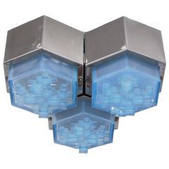 Large Italian Blue Glass Flush Mount