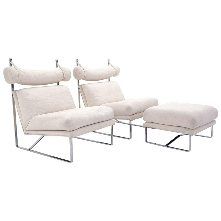 Pair of Large-Scale Lounge Chairs with One Ottoman in the Style of Milo Baughman 1