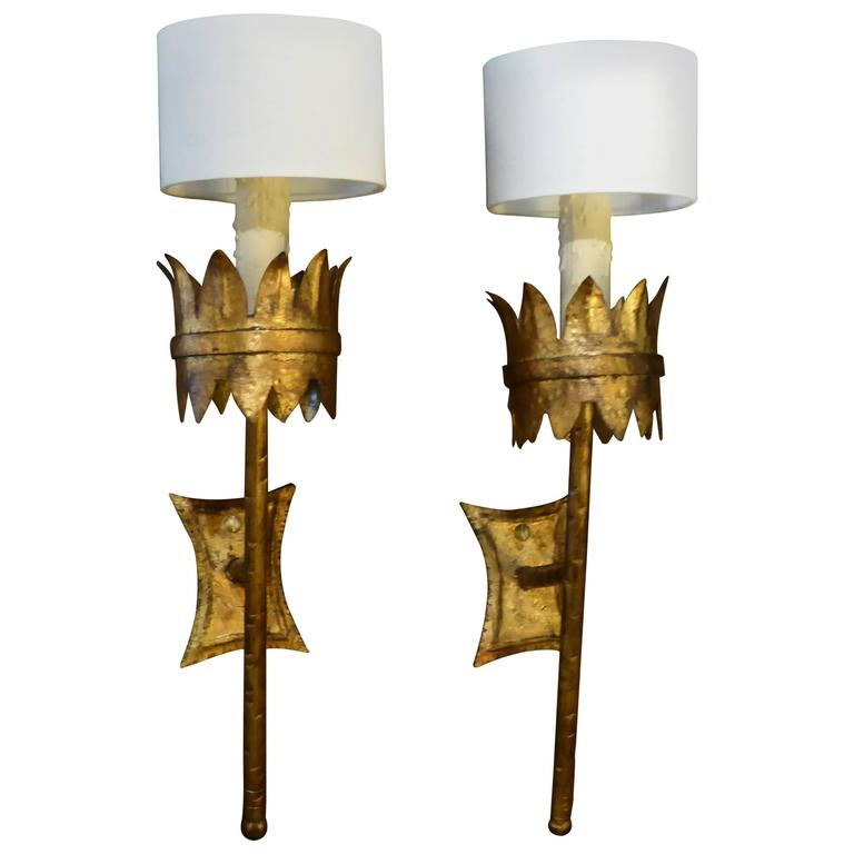 Gothic Wall Sconces: Regal Gilt Metal Gothic Torch Sconces Barcelona For Sale