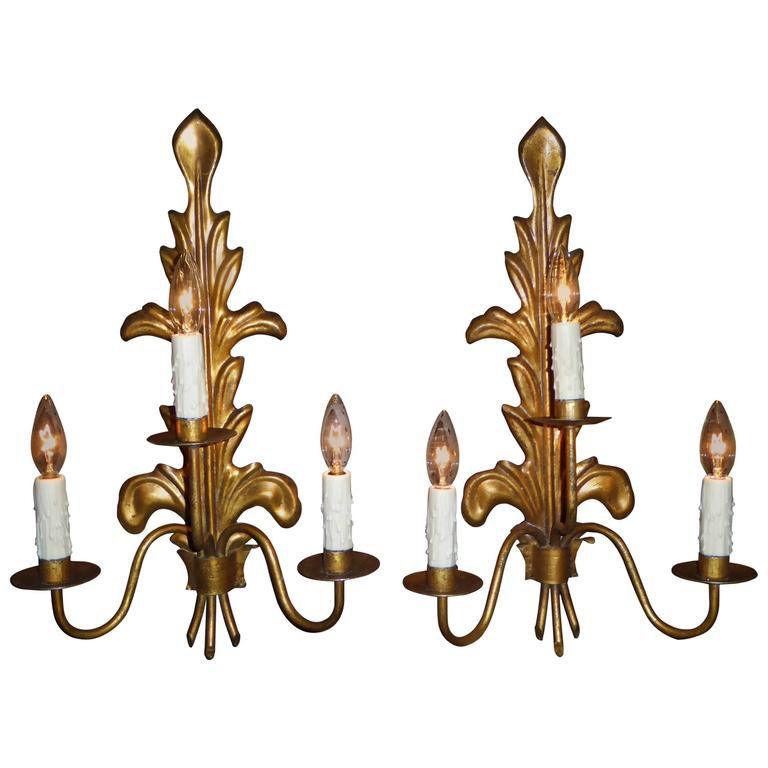 Pair of Acanthus Leaf Gilt Metal Three-Candle Sconces For Sale