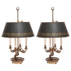 Pair of 19th Century Bronze Dolphin and Swan Bouillotte Lamps