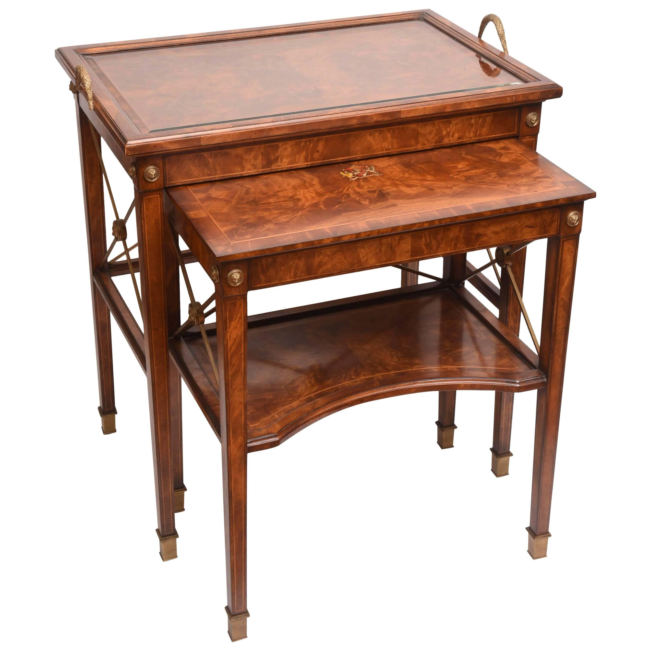 English Armorial Manor House Nesting Table
