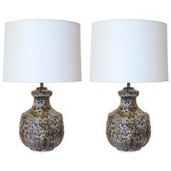 Pair of Alvino Bagni Ceramic Lamps, Italy, 1950s