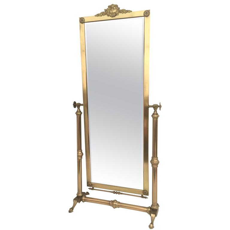 Neoclassical Brass Cheval Tilting Floor Mirror For Sale at 1stdibs