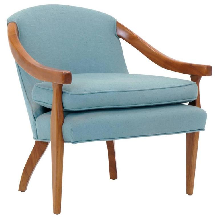 Elegant Club Lounge Chair Or Side Chair By Baker, Walnut And Blue Fabric