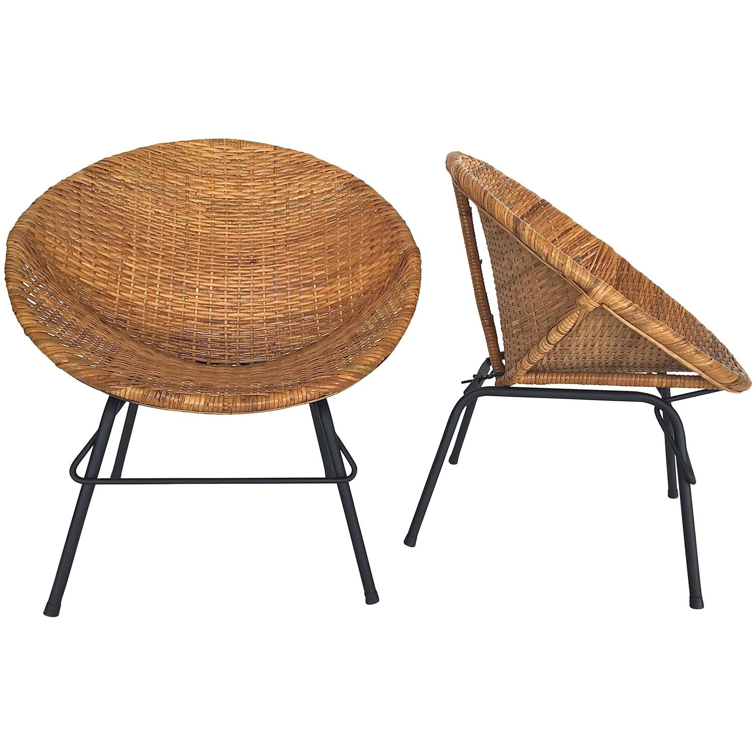 Wicker and Iron Scoop Bucket Chairs at 1stdibs