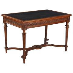 French Louis XVI Style Walnut Desk with Leather Top, 1900s
