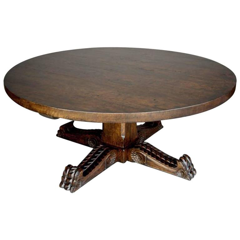 Dos Gallos Custom Carved Oak Wood Round Pedestal Coffee Table For Sale At 1stdibs