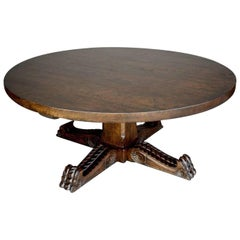 Dos Gallos Custom Carved Oak Wood Round Pedestal Coffee Table