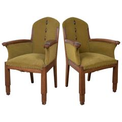 Pair of Amsterdam School Armchairs by Fa. Drilling
