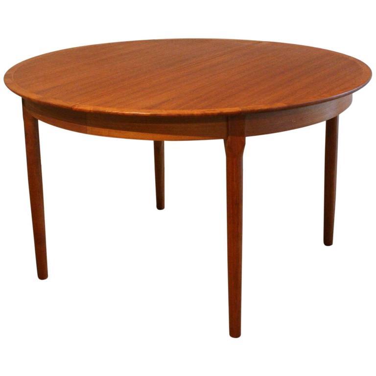 Vintage Danish Teak Round Dining Table At 1stdibs