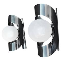 Pair of French 1960 Chrome Outdoor/Indoor Sconces